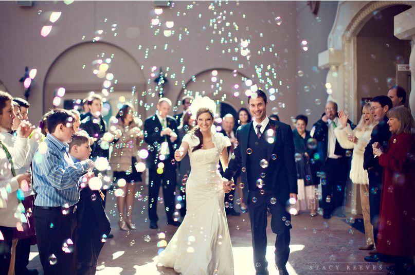 Bubbles as wedding exit idea